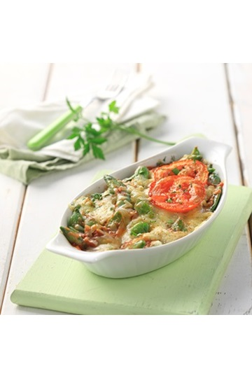 Green beans baked with cheese