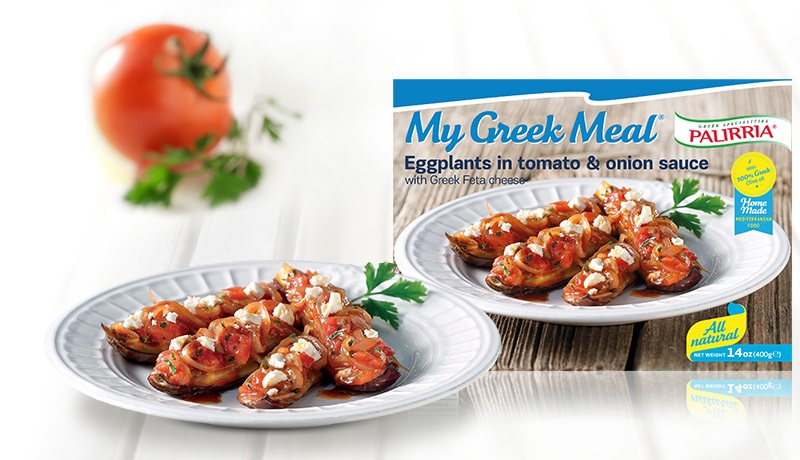Eggplants in Tomato and Onion Sauce with Greek Feta Cheese