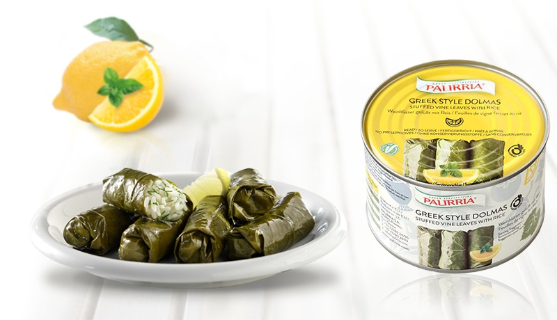 Greek style Dolmas, Stuffed vine leaves with rice