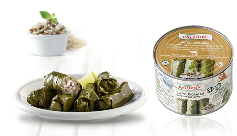 Royal Dolmas, Stuffed vine leaves with rice and ground beef