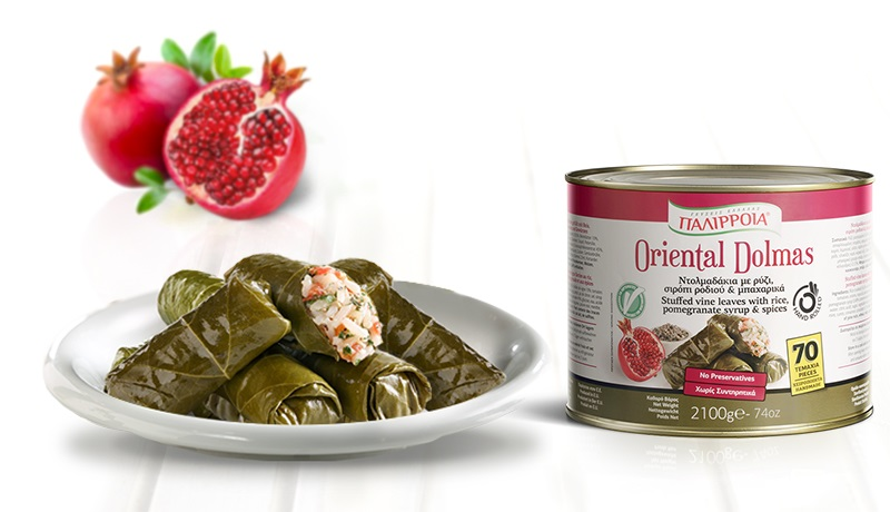 Oriental Dolmas, Stuffed vine leaves with rice, pomegranate syrum & spices