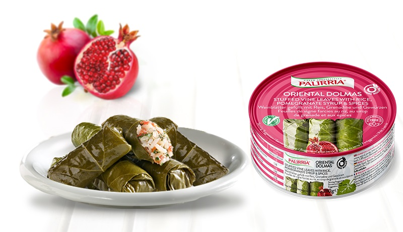 Oriental Dolmas, Stuffed Vine Leaves with rice, pomegranate syrup & spices