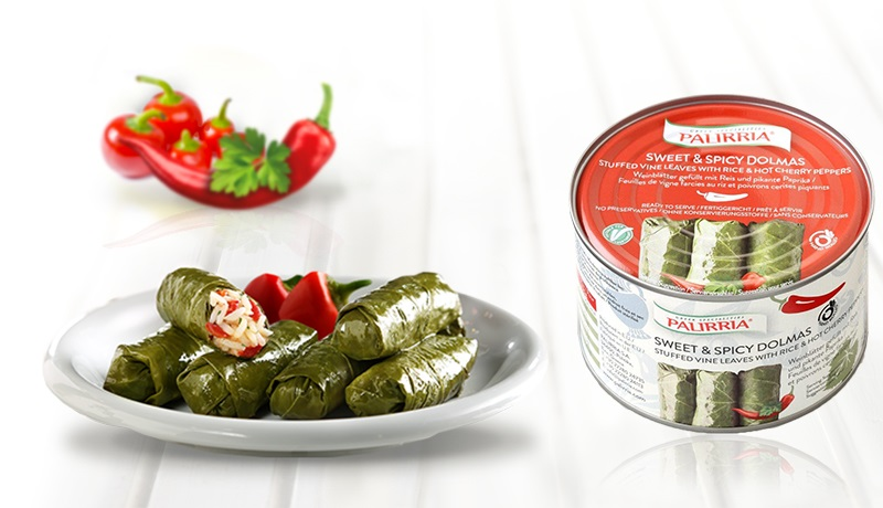Sweet & Spicy Dolmas, Stuffed Vine Leaves with Rice and Hot Cherry Peppers