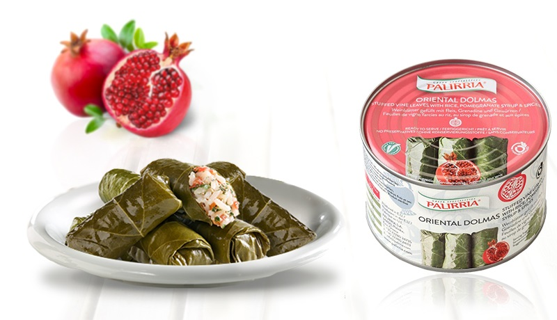 Oriental Dolmas, Stuffed vine leaves with rice, pomegranate syrup and spices