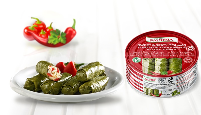 Sweet & Spicy Dolmas, Stuffed vine leaves with rice & cherry peppers