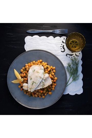 Greek Island Chickpeas with sea bass fillet
