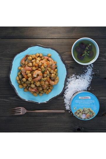 Chickpeas with shrimps & Greek herbs