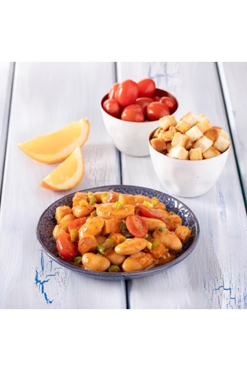 Giant Beans with Cherry Tomatoes & Orange Sauce
