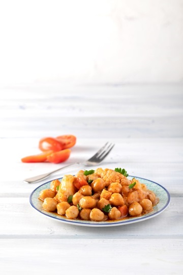 Blushing Greek Island Chickpeas with Cauliflower
