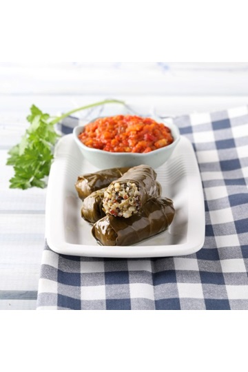 Quinoa Dolmas with Red Pepper dip