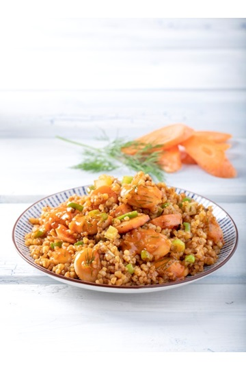 Giant Beans with Bulgur and Caramelized Carrots
