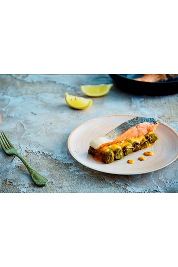 Salmon fillet with Greek Dolmas